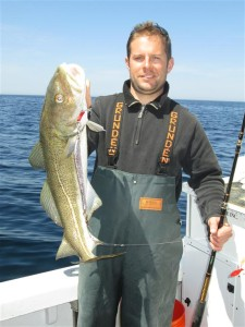 Mike Stabile had landed the largest cod of the day fishing a jig and teaser