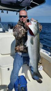 Dave Bittle, Retired U.S. Coast Guard Chief Petty Officer had a great day landing many striped bass including this one while fishing on board RELENTLESS CHARTERS out of Green Harbor, MA