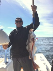 A nice large haddock caught by a member of the Dennis Albers Party aboard Relentless while fishing Stellwagen Bank